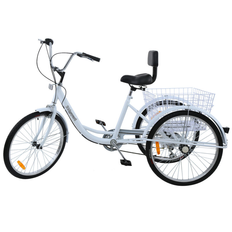 "White 24"" Adult Tricycle 3-Wheel 7 Speed Bicycle Trike Cruis"