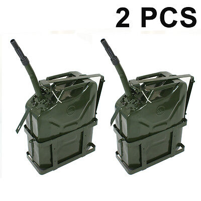 2pc 5 Gallon 20l Liter Jerry Can Fuel Steel Tank Military Green With Holder