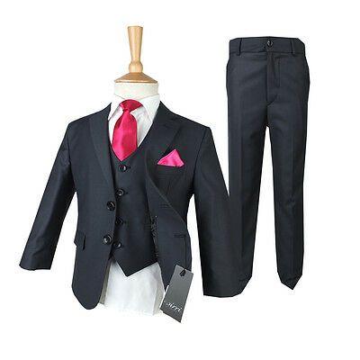 Dark grey Kids Suit, Boys Grey Formal Wedding Suits, Kids 1st Communion Outfit](First Communion Boys Outfit)