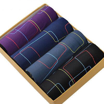 (4Pcs Men's Soft Bamboo Fiber Underwear Boxer Briefs Short Underpants 5XL 6XL 7XL)