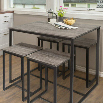 Zenvida 5 Piece Bistro / Pub Table Set With 4 Stools