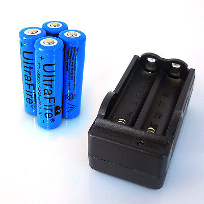 4x UltraFire 5000mAh 18650 Battery Rechargeable 3.7v Li-ion + 1x Dual Charger on Rummage
