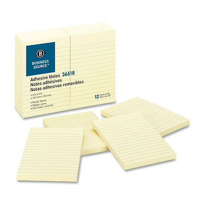 Sticky Notes Ruled 100 Shpad 4x6 Yellow Colors 5 Pads