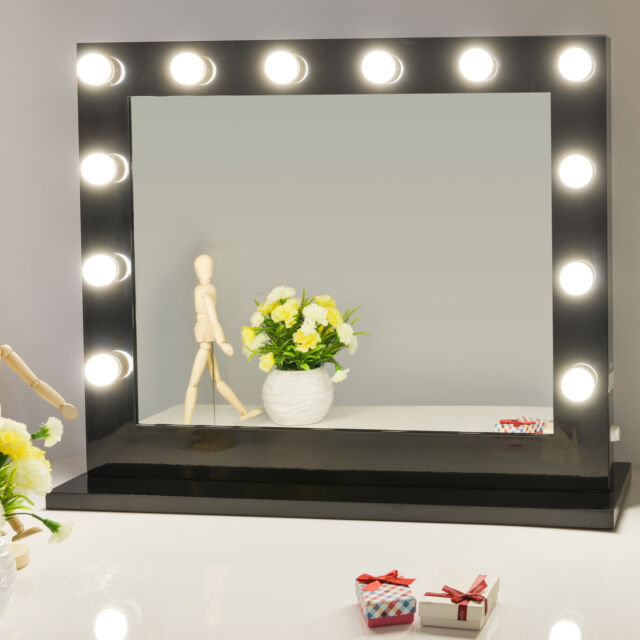 Hollywood Lighted Makeup Vanity Mirror With Light Dimmer Black 12 ...