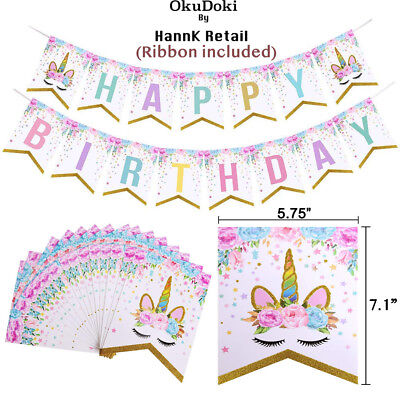 Unicorn Birthday Theme Party Banner, Cute Magical Decorations USA FAST SHIPPING