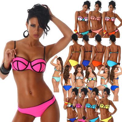 Damen Bikini Bandeau Push-Up gepolsterte Cups Badeanzug 34 36 38 40 42