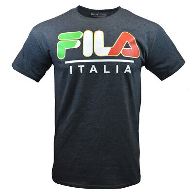FILA Men's T-shirt - Athletic Sports Apparel -ITALIA - Italy - Dark Heather -
