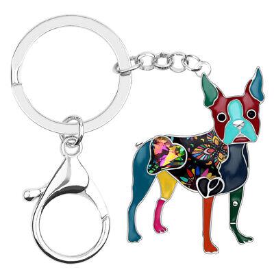 Enamel Alloy Boston Terrier Dog KeyChain Ring For Women Wallet Jewelry Kid Gifts