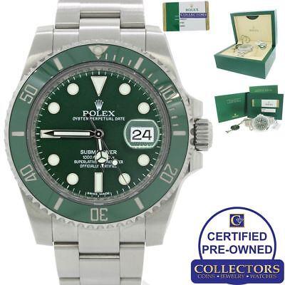 NEW 2018 Rolex Submariner Date Hulk 116610LV Green Steel Ceramic Watch Papers G8