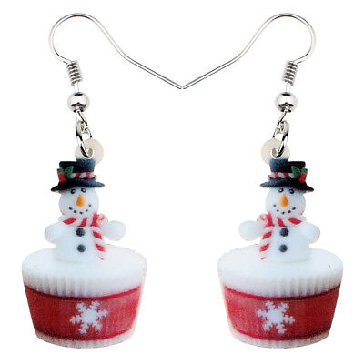 Acrylic Sweet Christmas Snowman Cupcake Earrings Drop Dangle Jewelry For Women