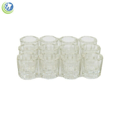 Glass Dappen Dish Clear Acrylic Holder Container Dental Cosmetology 12pcs