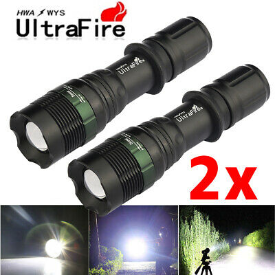 2PCS Military 50000Lumens T6 Led Tactical 18650 Zoomable Flashlight Super-Bright
