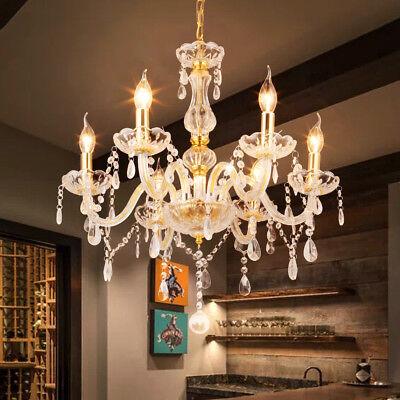 Ridgeyard 6 Arms Clear Gold Chandelier Lighting Ceiling Fixture Pendant Lamp US