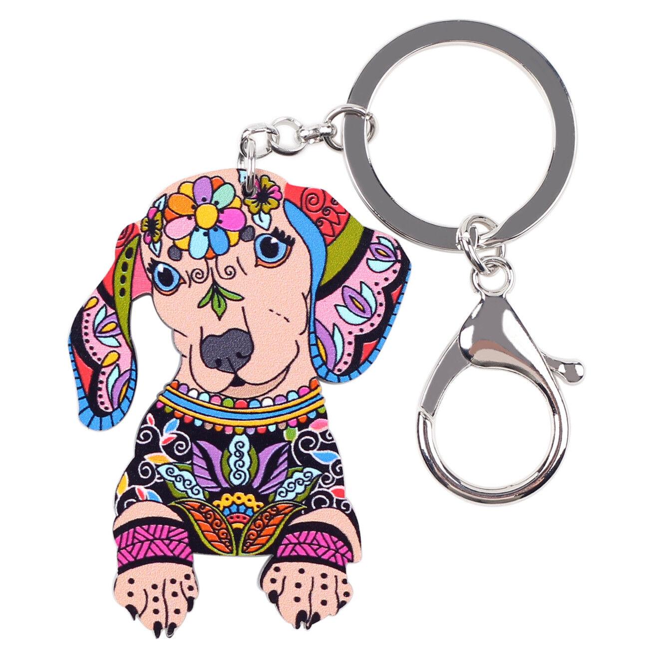 Acrylic Dachshund Dog Keychain Ring For Girls Teens Wallet C