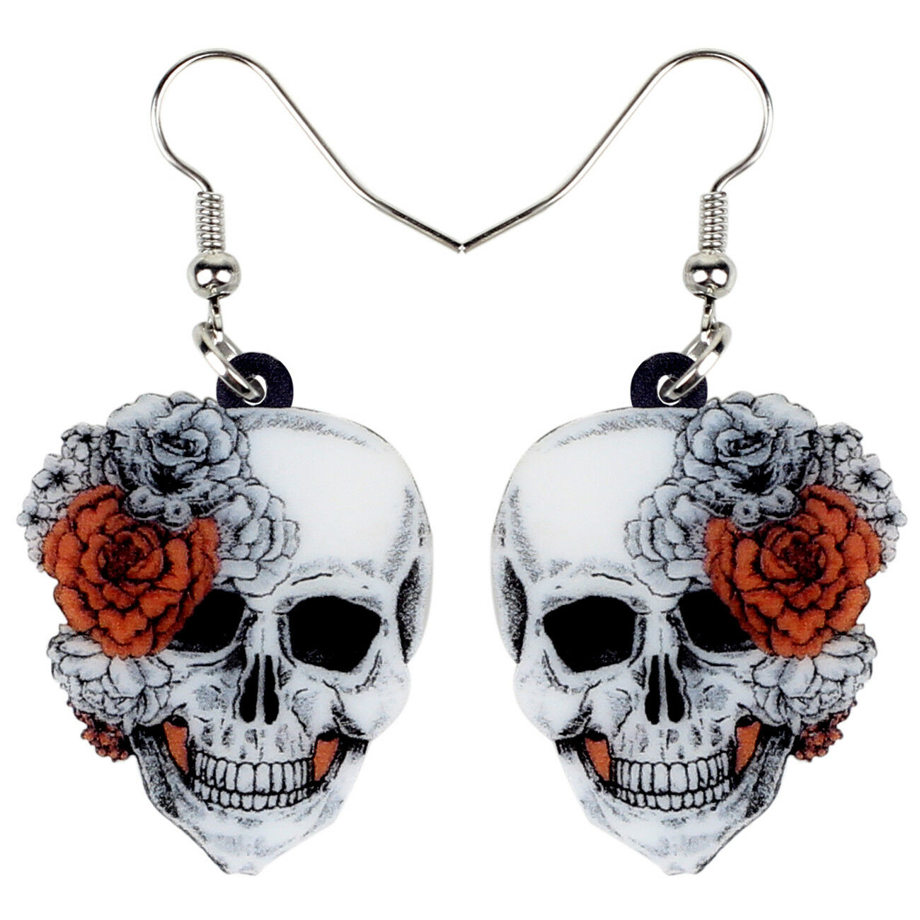 Acrylic Halloween Rose Flower Skull Earrings Drop Dangle Jew