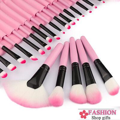 32PCS Pink Professional Superior Soft Cosmetic Makeup Brush Set Kit +Bag Case US