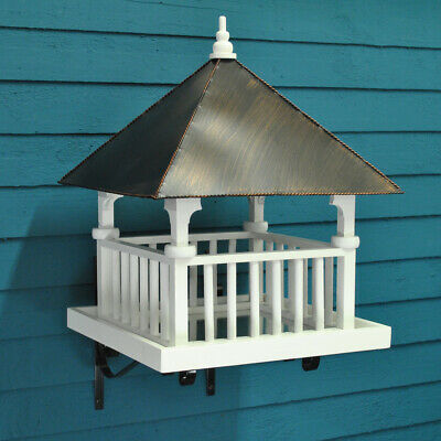 Wooden Painted Bird Table in White St Brelades Wall Mounted with Metal Roof