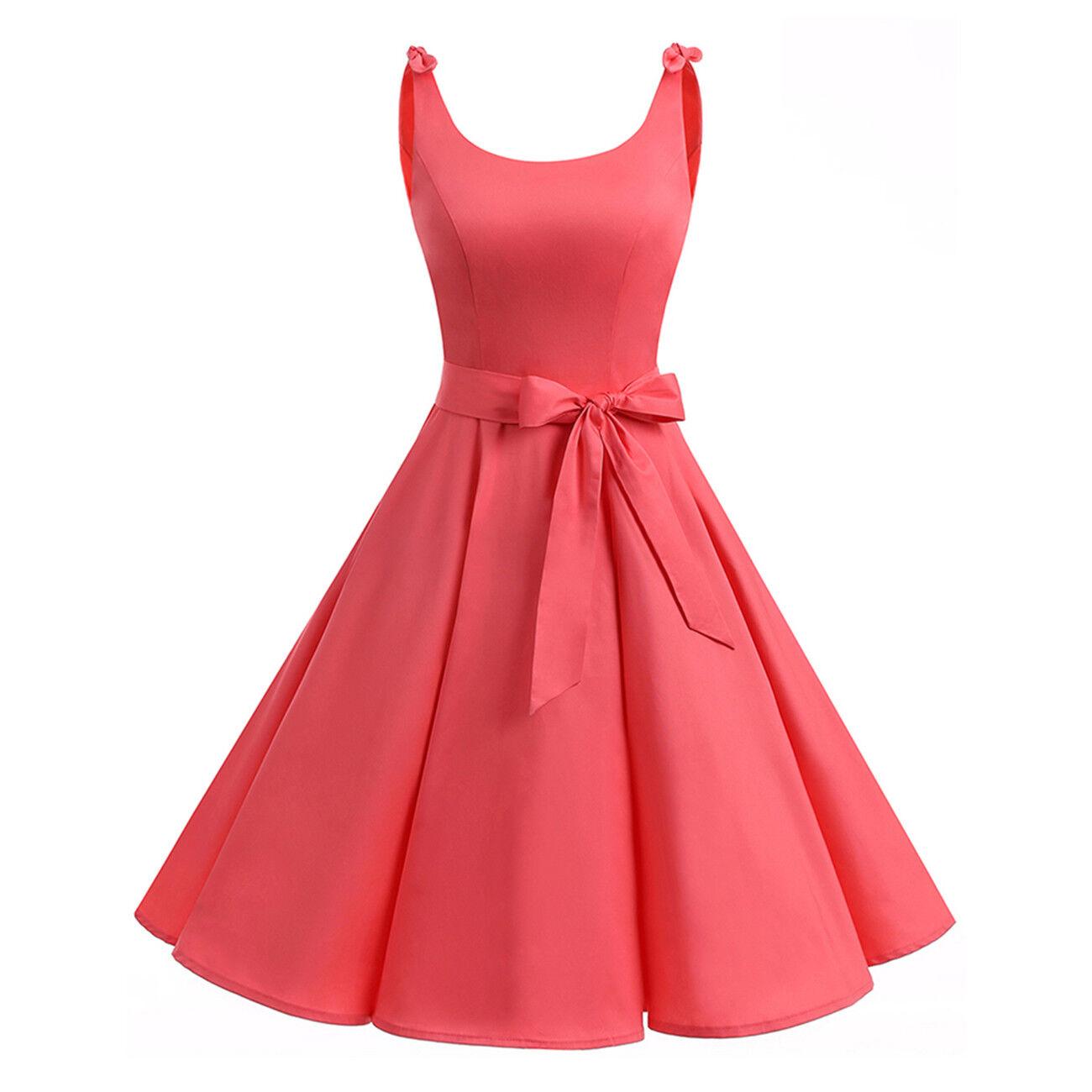 Women 50s Audrey Hepburn Style Vintage Dress Sleeveless Chic