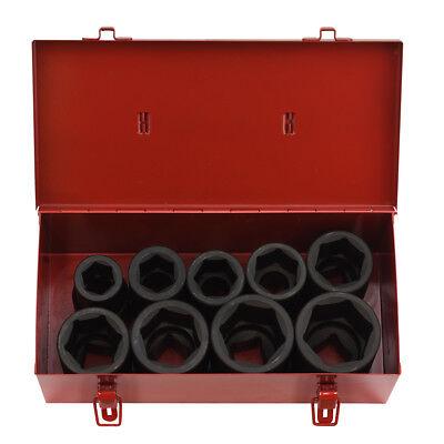 10pc Sae Deep Impact Socket 1 Inch Drive Standard W Metal Case Set