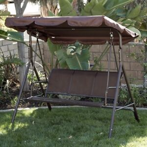 3-Person Patio Swing Outdoor Canopy Awning Yard Furniture Hammock Steel -Brown & 3 Person Swing | eBay
