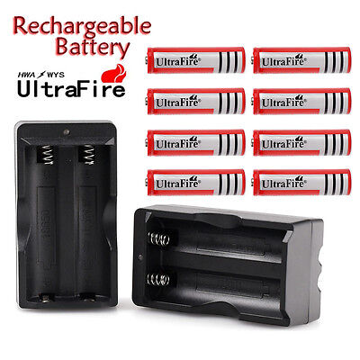 NEW 8PC BRC Rechargeable18650 battery 4000mAh Li-ion 3.7v+ Smart battery Charger