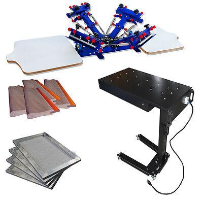 4 Color Screen Printing Sart Machines Kit Micro Registration Printer Flash Dryer