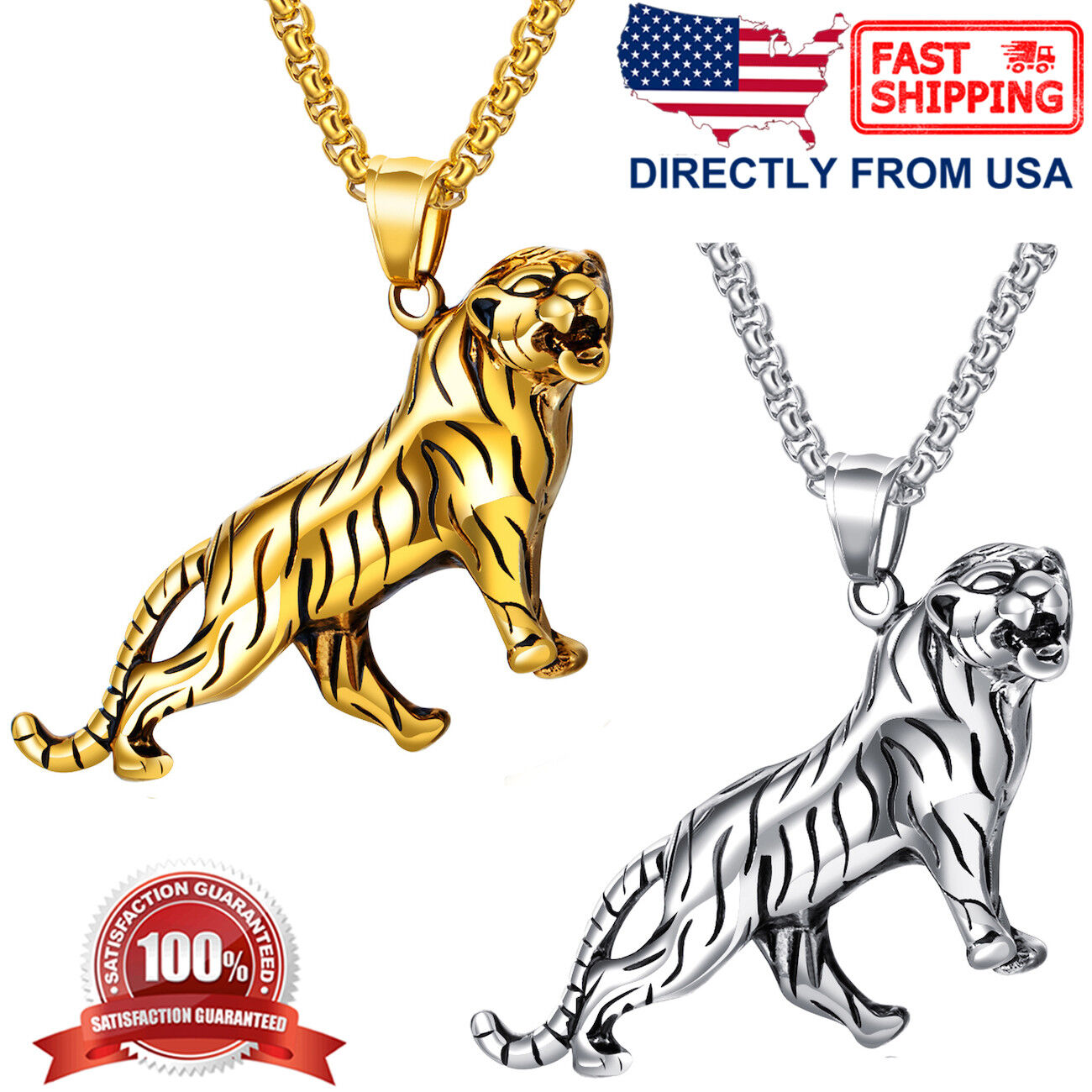 Men's Biker Jewelry, Stainless Steel Large and Heavy Leopard Pendant Necklace Chains, Necklaces & Pendants