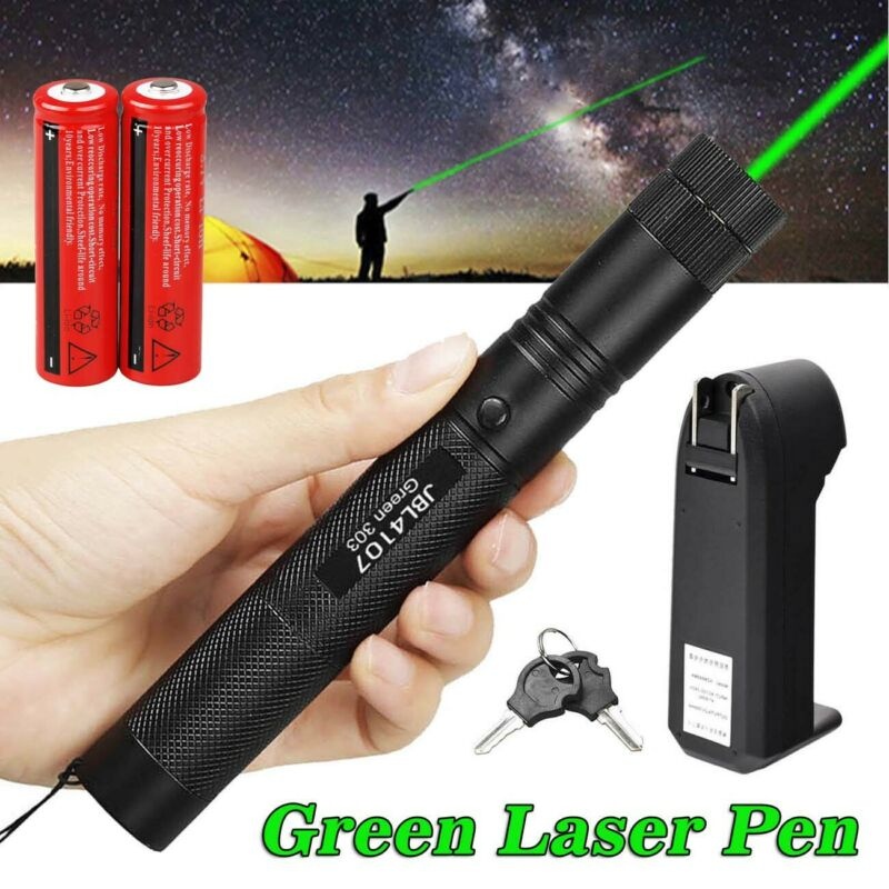 10 Miles 532nm 1mw 303 Green Laser Pointer Lazer Pen Beam Light +2*18650+Charger