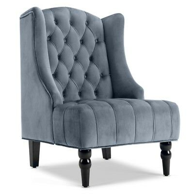 French Vintage Inspired Tall Wingback Silver Tufted Fabric