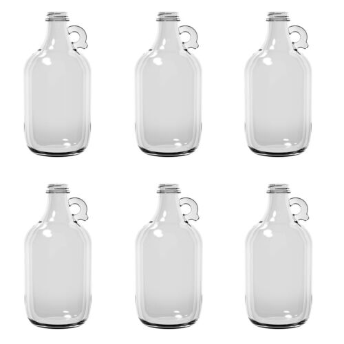 Case of 6 glass half gallon jug bottles 64 fl oz each