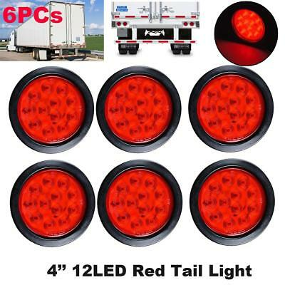 "6PCs 4"" Inch Red 12 LED Round Stop Turn Tail Lamp Truck Light w/ Grommet &Wiring"
