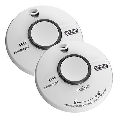 2 x FIREANGEL ST622T 10 Yr Battery Ionisation Optical Fire Smoke Alarm Detector