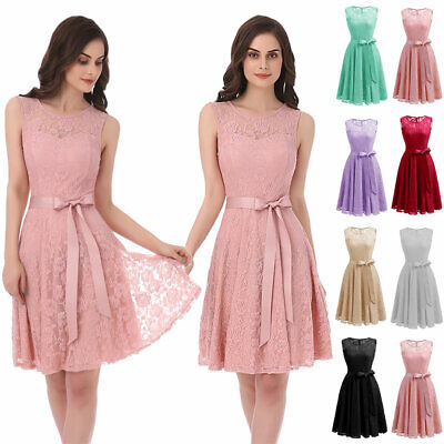 - Women's Floral Lace Dress Wedding Bridesmaid Dresses Cocktail Party A-Line Prom