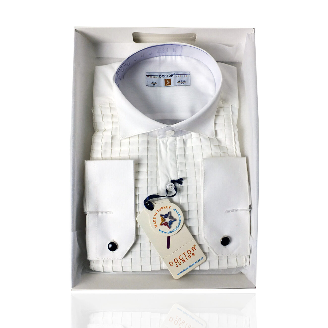 Boys Premium Wing Collar Pleated Cream Cufflink Shirt Kids White Shirts