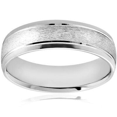- 6MM Platinum Mens Wedding Band Brushed Comfort Fit Flat Ring
