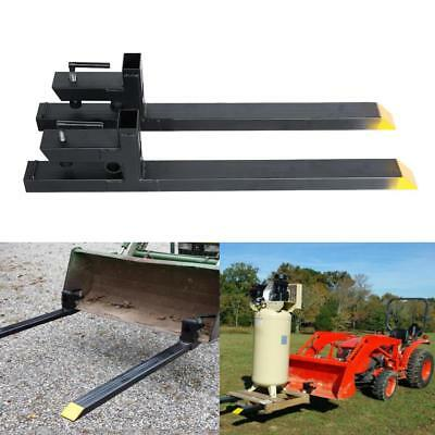 3000lb Capacity Clamp On Pallet Forks Heavy Duty Loader Bucket Skidsteer Tractor