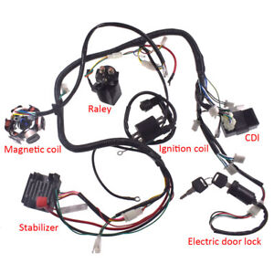 gy6 150cc atv go kart wire harness assembly cdi switch electric part