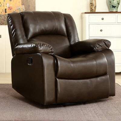 - Bonded Faux Leather Rocker and Swivel Recliner Chair Glider Living Room - Brown