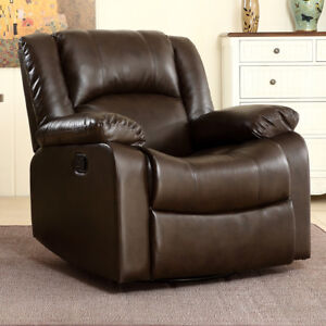 Bonded Faux Leather Rocker and Swivel Recliner Chair Glider Living Room - Brown