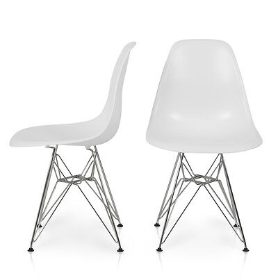 Set of 2 Eames Style DSW Wire Base Mid Century Modern Dining Side Chair, White