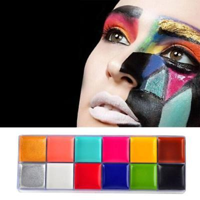 12 Painting Flash Paint Color Case Makeup Palette Eyes Cheek Lip Body Cosmetic (Painted Palette)