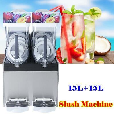 30l 2 Tank Frozen Slush Slushy Machine Ice Juice Smoothie Margarita Maker 2x15l