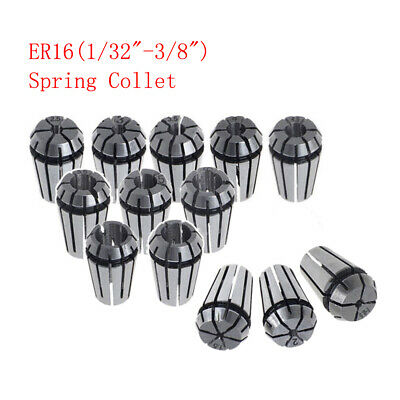 12pc Er16 132-38 Spring Collet Set Fits Cnc Milling Lathe Engraving Machine