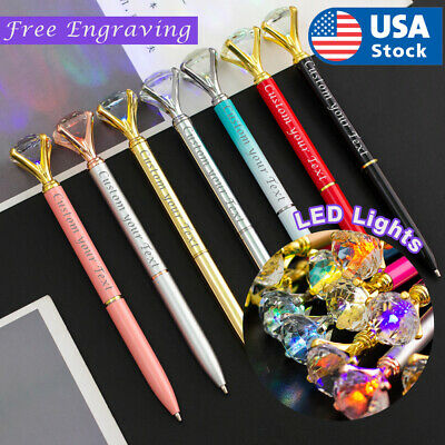 LED Light Custom Diamond pens Name pens. Metal pen Personalized pens Name-logo Personalized Logo Pens