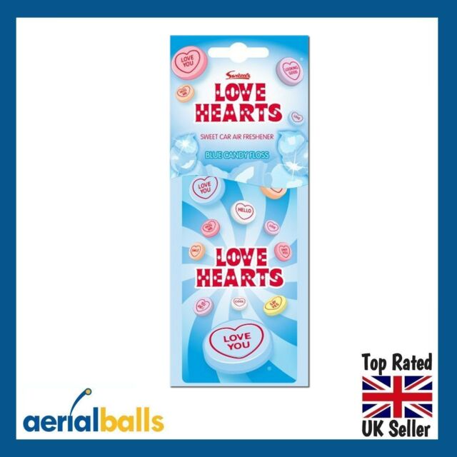 Love Hearts Hanging 2D Car Air Freshener - Blue Candy Floss Fragrance
