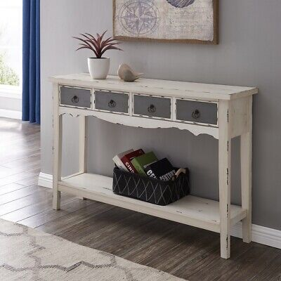Rectangular Drawer - Modern Living Room 2 Drawer Rectangular Console Table in Distressed White Finish