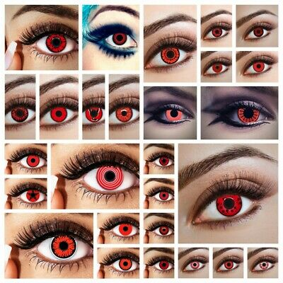 Rote Kontaktlinsen farbige Funlinsen ohne Stärke Farblinsen Halloween Karneval