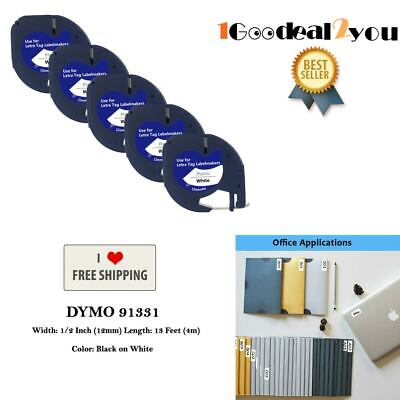 5 Pk Compatible Dymo Letratag 91331 Black On White Label Tape Refill Us Shipping