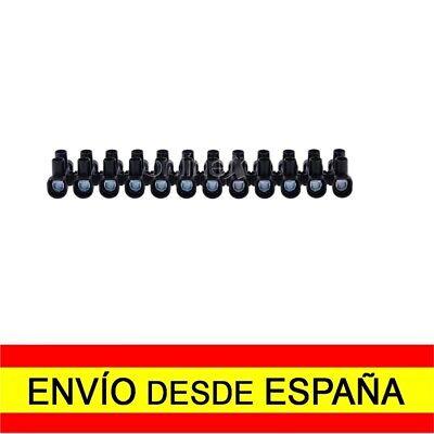 Regleta de 12 Secciones Conexiones Eléctricas 16mm 30 Amperios Negra a2012