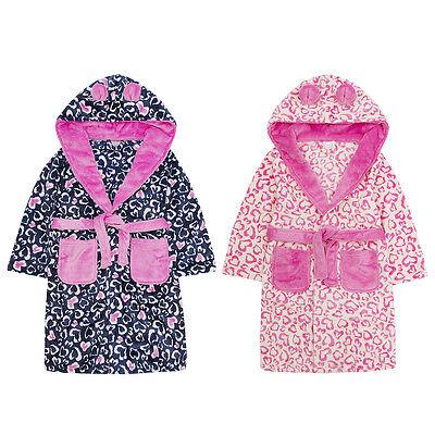 Mädchen Rosa Leopard Robe Kinder mit Kapuze weich Fleece Bade NEUHEIT Bademantel